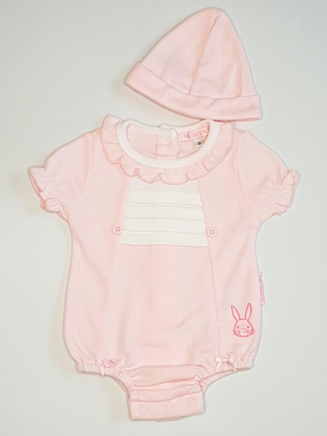 Baby Girls Romper With Embroidered Bunny And Hat