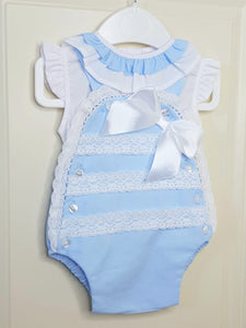 Portugese Blue Traditional Romper With Lace Detail And Bow