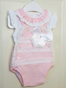 Portugese Pink Traditional Romper With Lace Detail And Bow