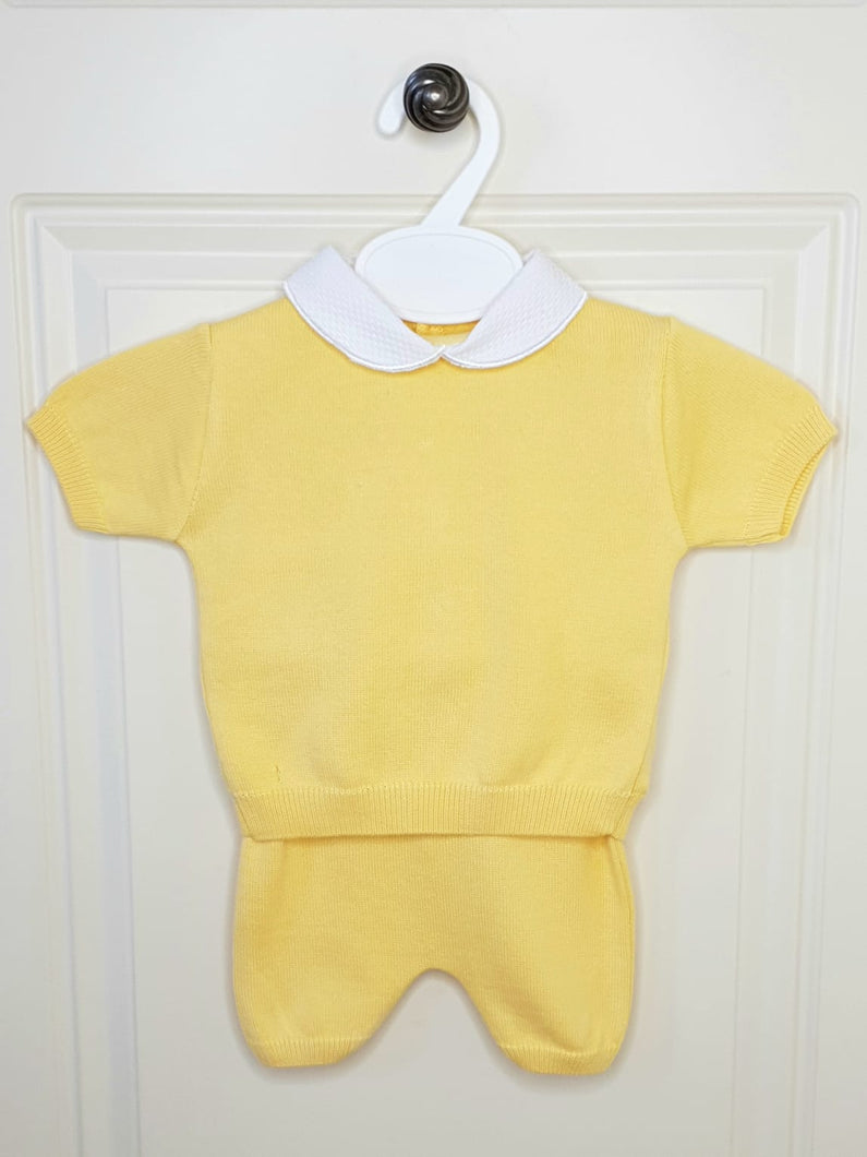 Boys Traditional Yellow Fine Knit Outfit