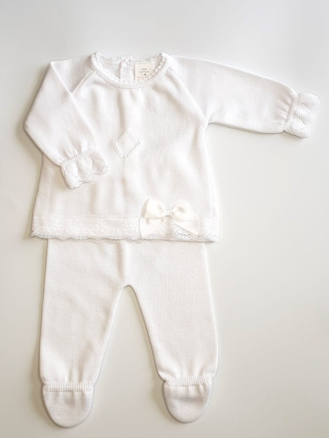 White Knit Unisex 2 Piece Outfit With Lace Trim