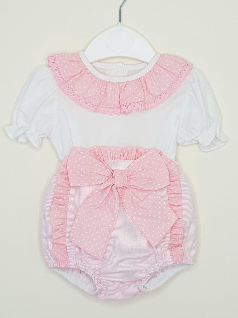 Girls Pink Portuguese Blouse And Jam Pants With Bow