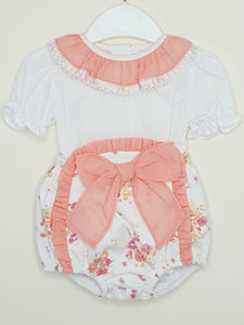 Girls Peach Portuguese Blouse And Jam Pants With Bow