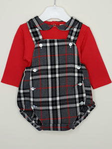 Boys Traditional Tartan Romper With Red Top