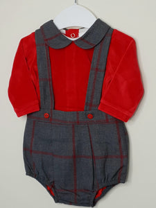 Boys Traditional Outfit With Red Velour Top