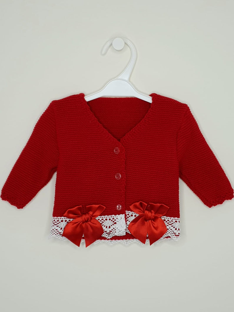 Girls Red Bolero With Matching Bows
