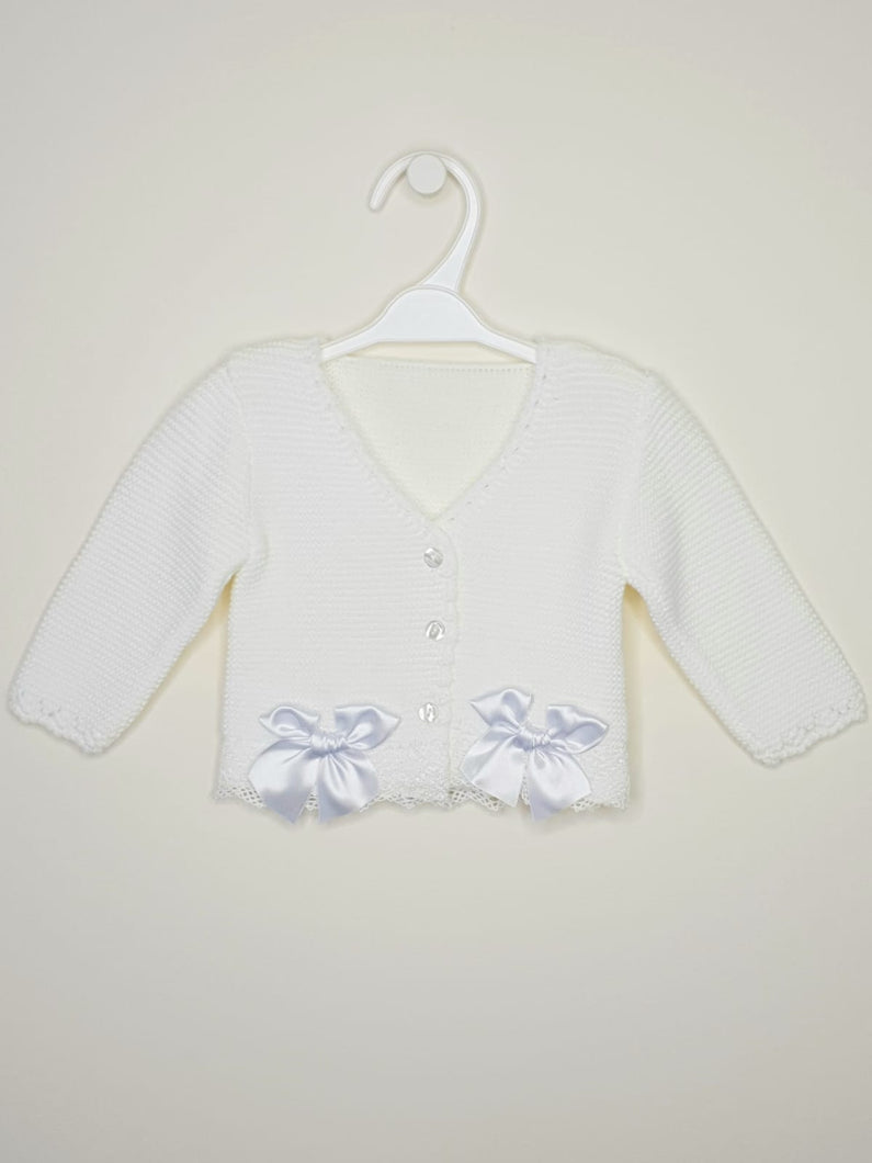 Girls White Bolero With Matching Bows