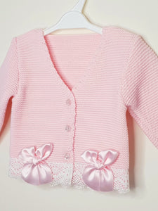 Girls Pink Bolero With Matching Bows