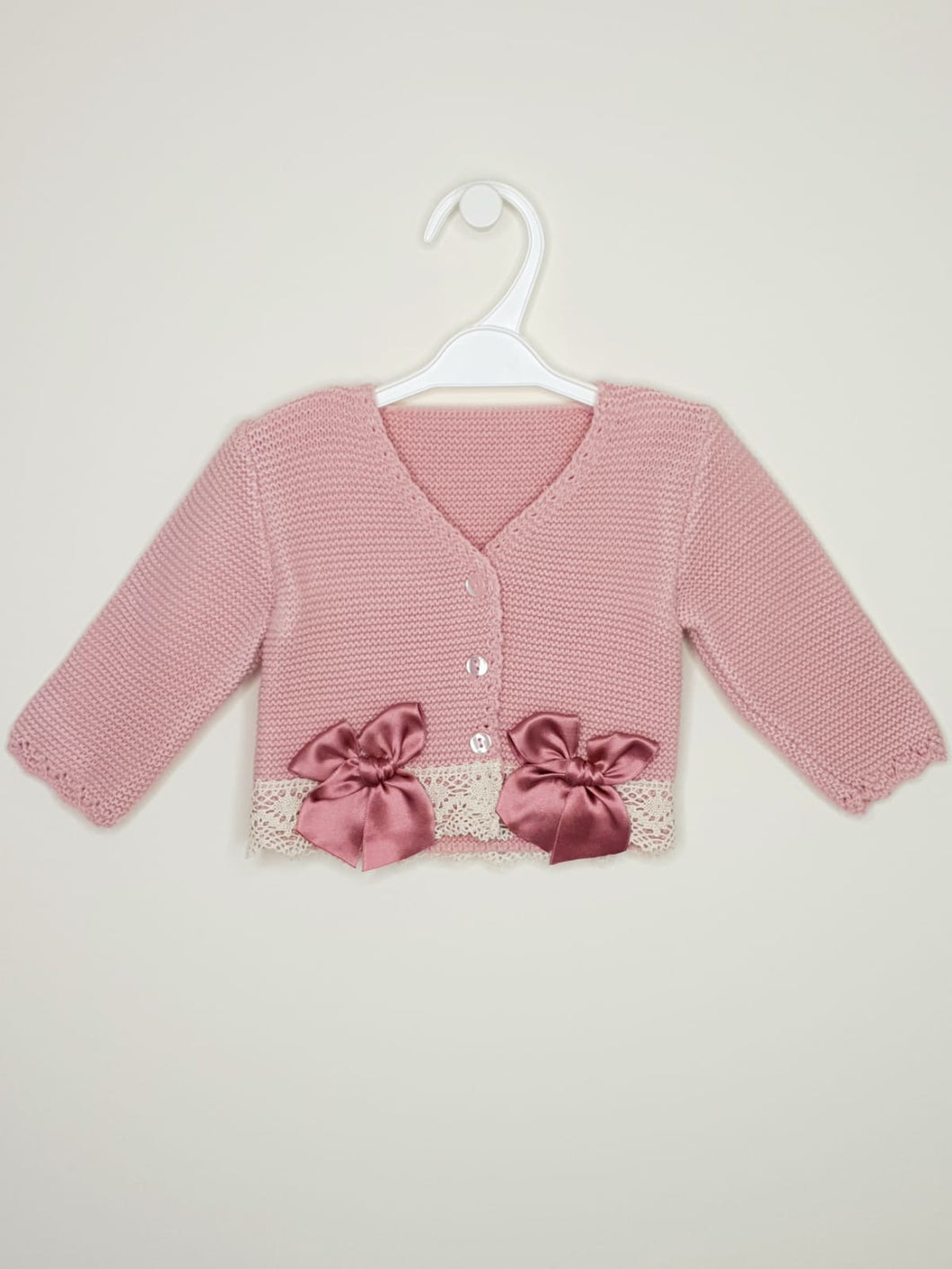 Girls Dusky Pink Bolero With Matching Bows