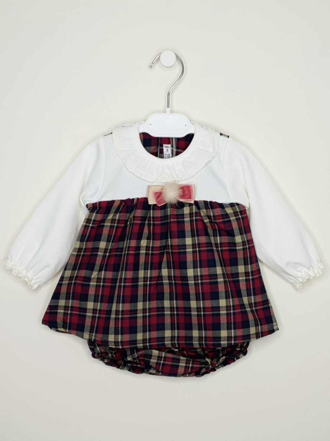 CALAMARO - Tartan Dress With Pompom And Matching Bloomers