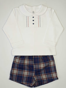 CALAMARO - Boys Outfit With Top And Tartan Shorts