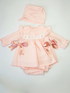 BABY-FERR Pink Traditional Dress With Matching Bloomers And Bonnet
