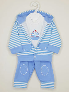 Boys Blue 3 Piece Lounge Set With Hood