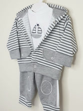 Load image into Gallery viewer, Boys Grey 3 Piece Lounge Set With Hood