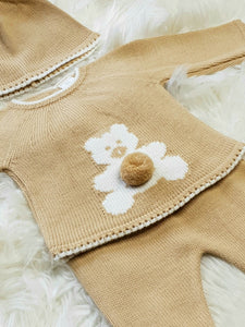 Camel Knit 2 Piece With Teddy Bear And Pompom Hat