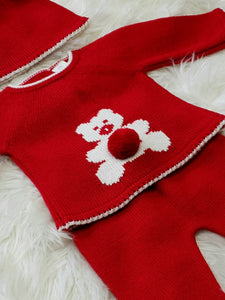 Red Knit 2 Piece With Teddy Bear And Pompom Hat
