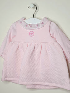 Pretty Pink Baby Girls Quilted Dress With Roses