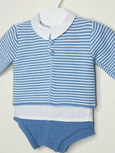 Load image into Gallery viewer, Portuguese Boys Blue Knitted Set With Shirt
