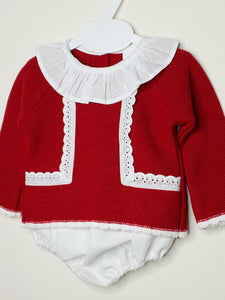 Traditional Baby Girls Knit Set With Ruffle Collar And Jam Pants