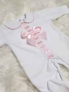 Portuguese Velour Sleepsuit With Pink Ribbon And Bow