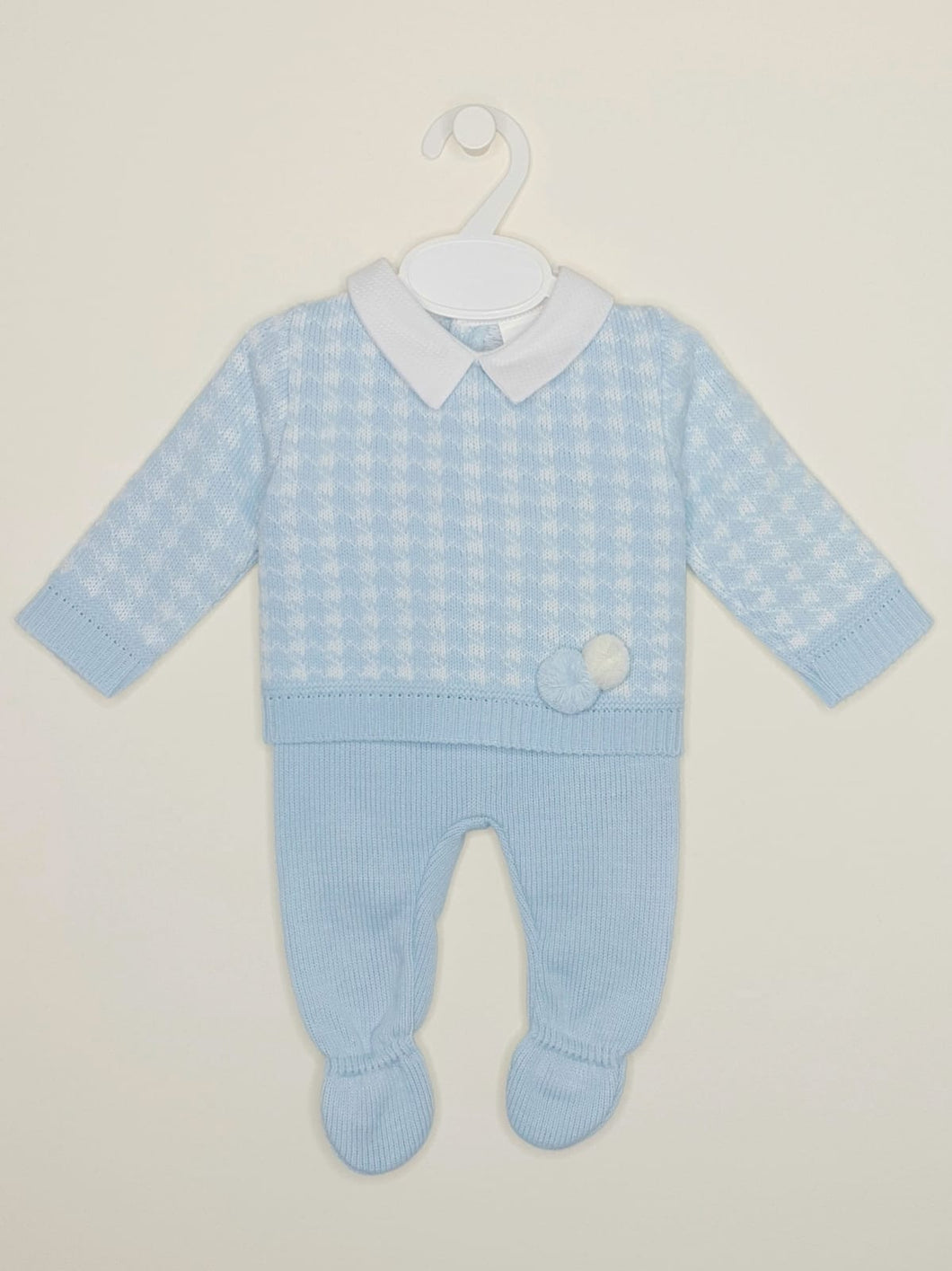 Spanish Baby Boys Blue Knitted Outfit With Pompoms