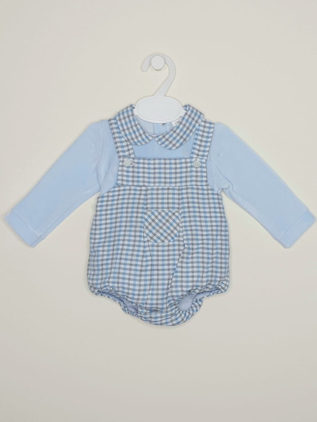 Boys Spanish Check Romper With Velour Top