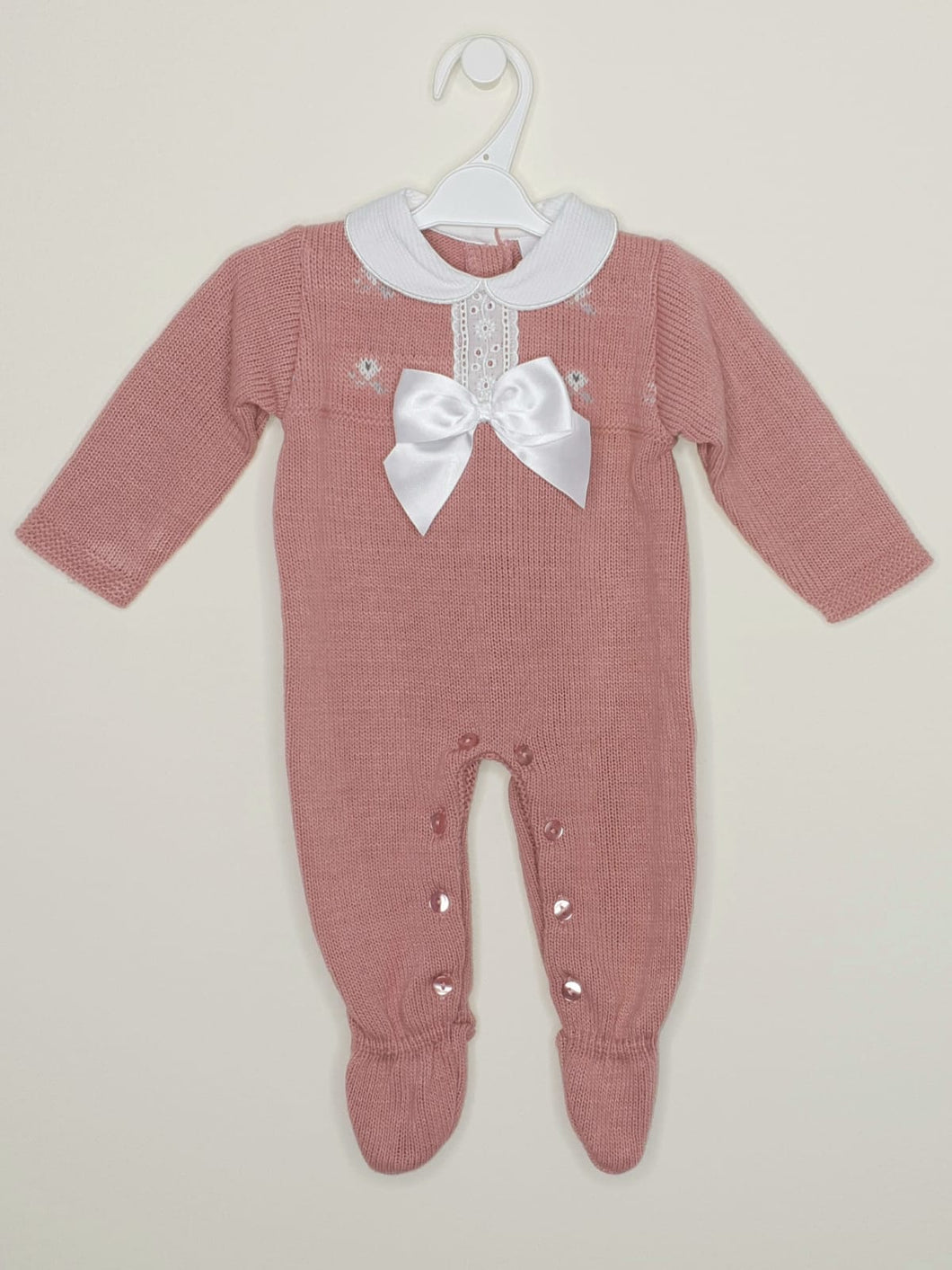 Baby Girls Dusky Pink Spanish Knitted All In One