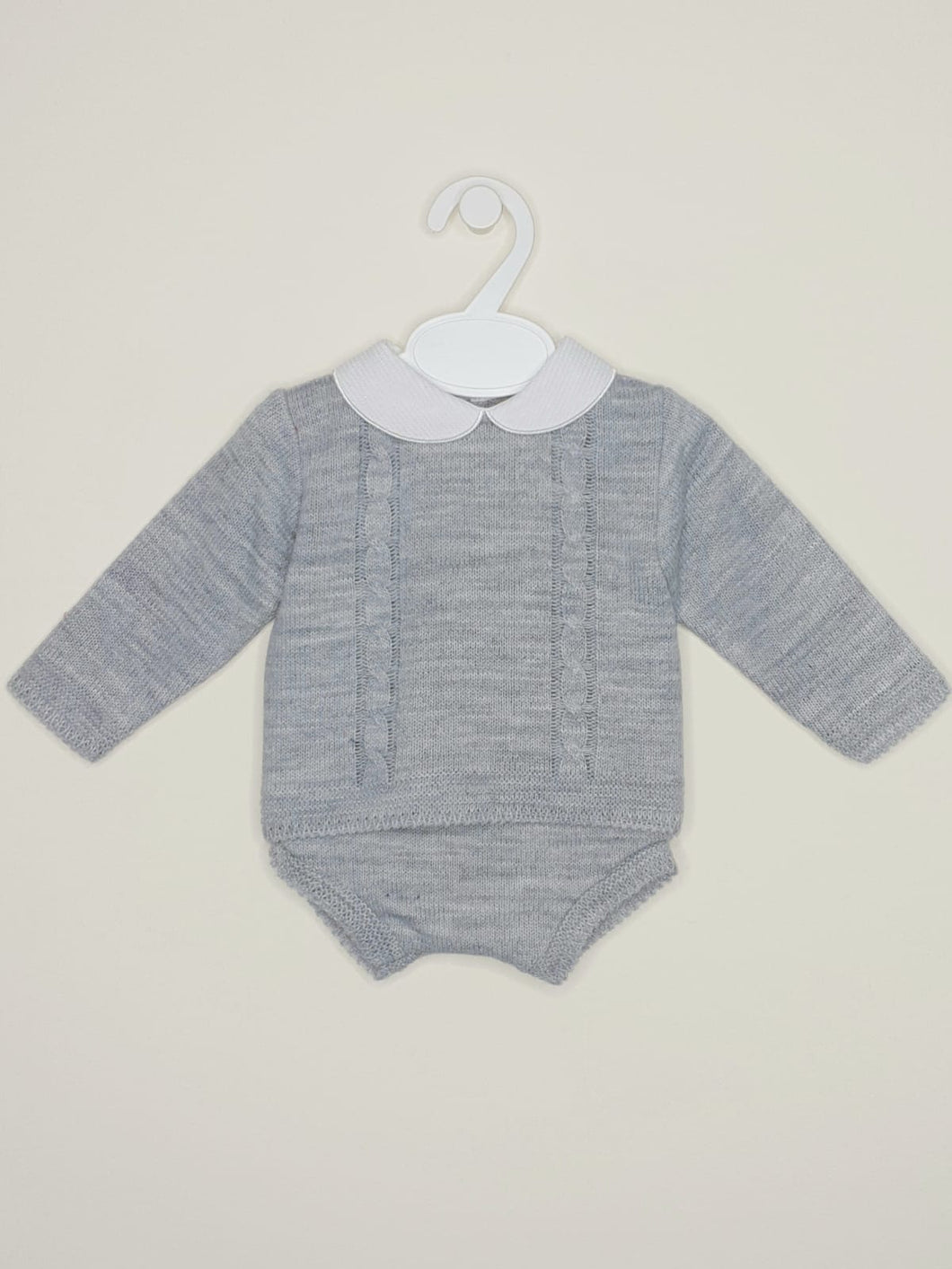 Boys Grey Portuguese Knitted Outfit With Jam Pants