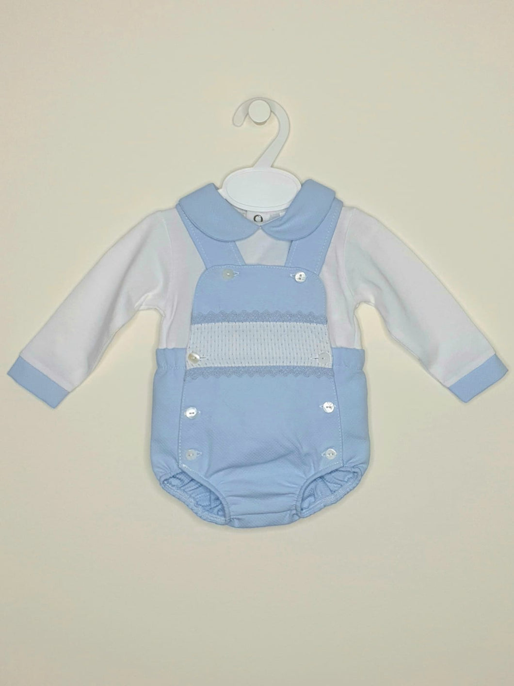 Boys Blue Traditional Romper With Ribbon And Lace Detail