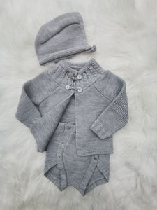 Knitted Grey Shawl, Jam Pants And Bonnet Set