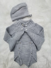 Load image into Gallery viewer, Knitted Grey Shawl, Jam Pants And Bonnet Set
