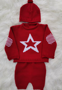 Boys Red Star Knitted Top, Shorts And Bobble Hat