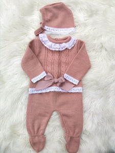 Dusy Pink Knitted 3 Piece Outfit With Bonnet