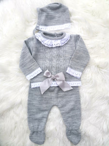 Grey Knitted 3 Piece Outfit With Bonnet
