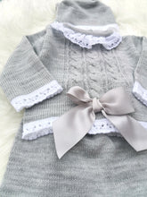 Load image into Gallery viewer, Grey Knitted 3 Piece Outfit With Bonnet