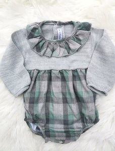 CALAMARO Unisex Green And Grey Romper