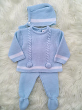 Load image into Gallery viewer, Blue Knitted 3 Piece Outfit With Bonnet And Pompoms