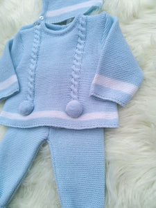 Blue Knitted 3 Piece Outfit With Bonnet And Pompoms
