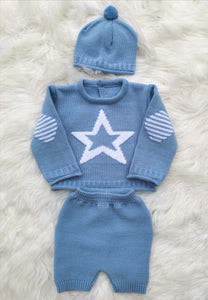Boys Blue Star Knitted Top, Shorts And Bobble Hat