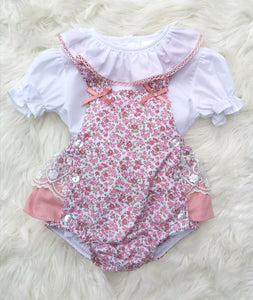 Dusky Pink Portugese Layered Lace Frill Romper With Shirt