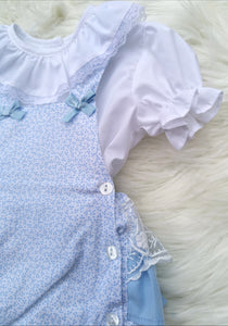 Blue Portugese Layered Lace Frill Romper With Shirt