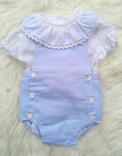 Load image into Gallery viewer, Baby Blue Romper With Ruffle Frill Collar