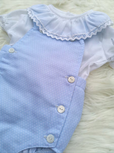Baby Blue Romper With Ruffle Frill Collar