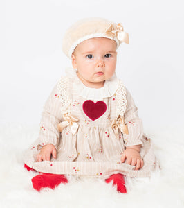Girls Red Heart Dress With Matching Beret