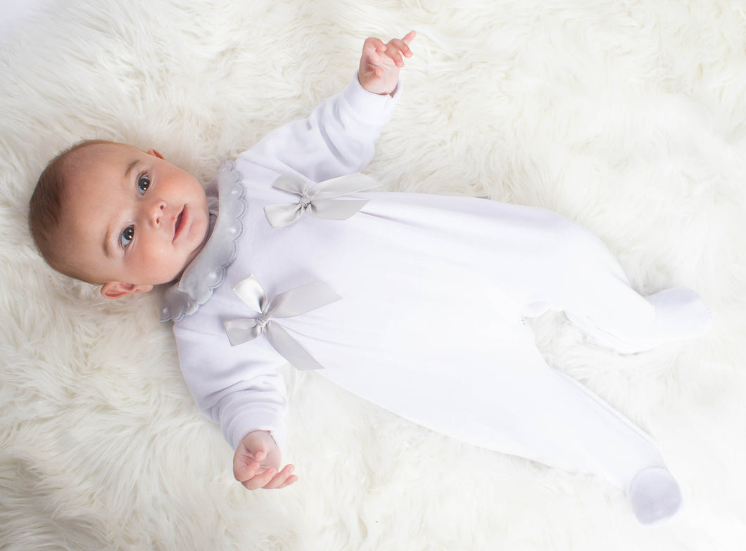Portuguese Velour Sleepsuit With Bows