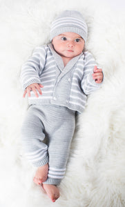 Grey 3 Piece Knitted Set, With Trousers, Cardigan And Hat