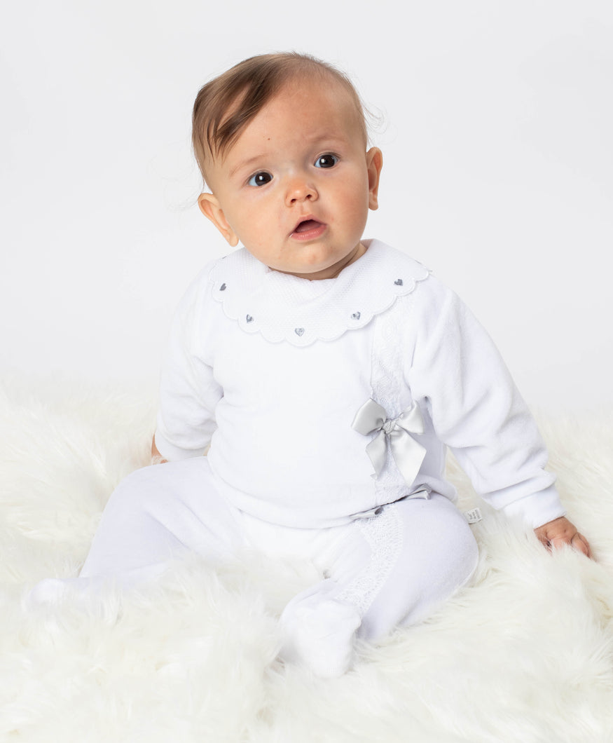 Portuguese Velour Sleepsuit With Lace And Bows