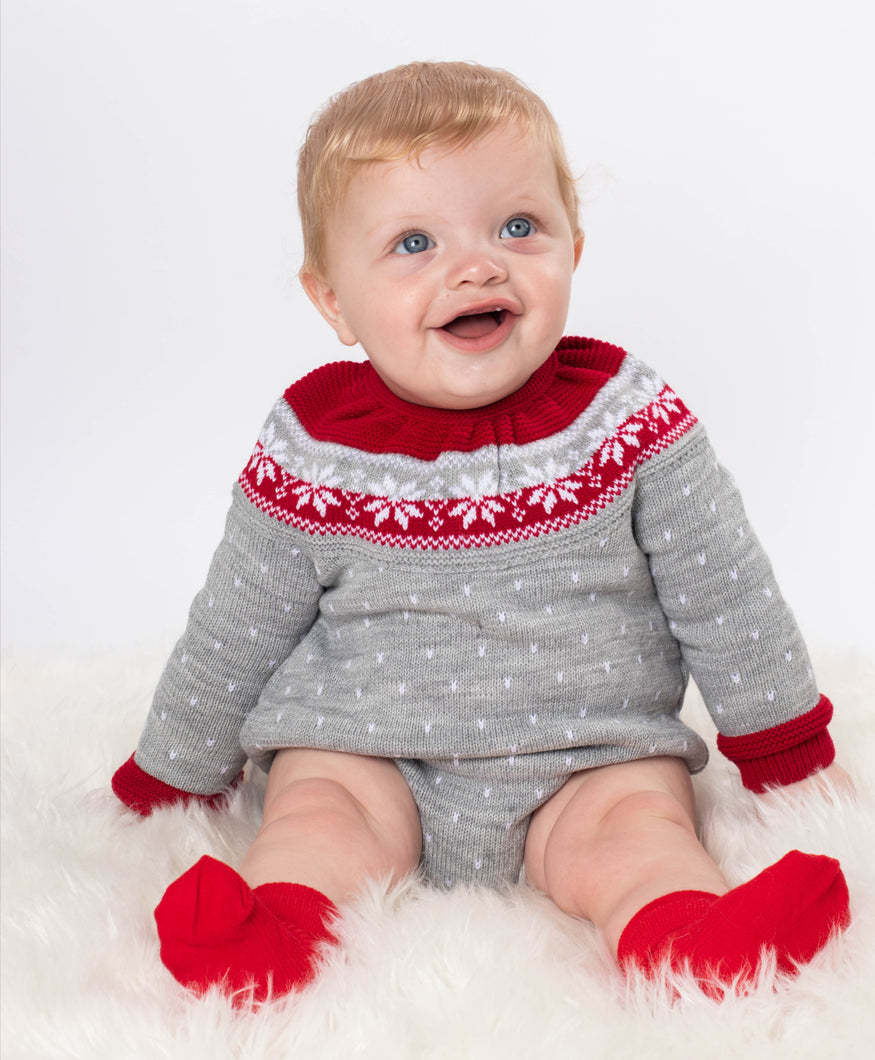 Unisex Red And Grey Snowflake Romper