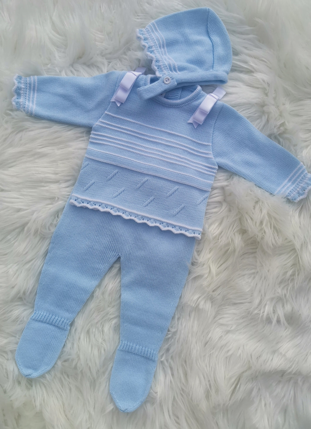 Spanish Knitted Three Piece Outfit With Bonnet - Baby Blue
