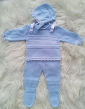 Load image into Gallery viewer, Spanish Knitted Three Piece Outfit With Bonnet - Baby Blue